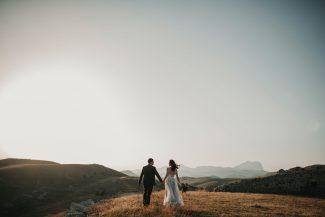 Bride, groom and Tuscany countryside. Italy Wedding